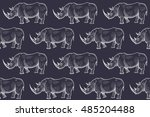old engraving rhinoceros.... | Shutterstock .eps vector #485204488