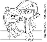 doctor examining a little girl... | Shutterstock .eps vector #485206804