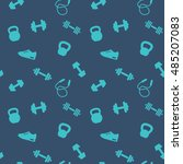 seamless pattern with gym icons ... | Shutterstock .eps vector #485207083