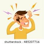 headache man character. vector... | Shutterstock .eps vector #485207716