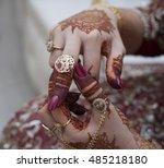 rings on henna hands | Shutterstock . vector #485218180