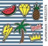 set of fashionable patches... | Shutterstock .eps vector #485221576