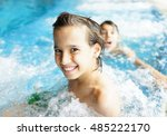 child on summer swimming pool... | Shutterstock . vector #485222170