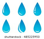 blue water droplet set on white ... | Shutterstock .eps vector #485225953