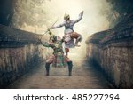 khon is traditional dance drama ... | Shutterstock . vector #485227294