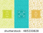 Vector set of packaging design templates, seamless patterns and frames with copy space for text for cosmetics, beauty products, organic and healthy food with green leaves - modern ornaments  | Shutterstock vector #485233828