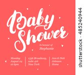 baby shower invitation card... | Shutterstock .eps vector #485240944
