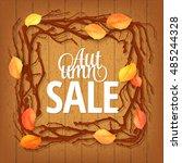 hello autumn background. bright ... | Shutterstock .eps vector #485244328