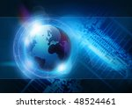 A technology background with the planet earth. - stock photo