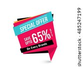 special offer sale with upto 65 ... | Shutterstock .eps vector #485247199