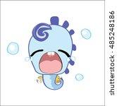 cute sea horse cartoon  vector... | Shutterstock .eps vector #485248186