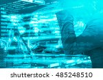 Small photo of Algorithmic investment and trading concept. Double exposure of business man using laptop computer, stock graph, trading data and computer coding.