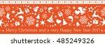 flat monochrome border design... | Shutterstock .eps vector #485249326