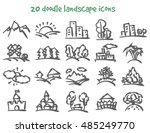 vector doodle landscape icons... | Shutterstock .eps vector #485249770