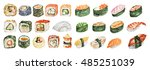 watercolor sushi set. different ...   Shutterstock . vector #485251039
