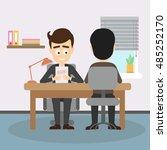 businessman job interview. boss ... | Shutterstock .eps vector #485252170