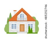 isolated cartoon house. simple... | Shutterstock .eps vector #485252746