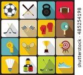 sport equipment icons set in... | Shutterstock .eps vector #485254198