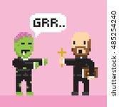 pixel art game style halloween... | Shutterstock .eps vector #485254240