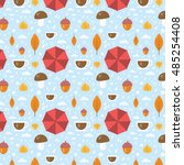 vector autumn pattern with leaf ... | Shutterstock .eps vector #485254408