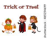 happy halloween. set of cute... | Shutterstock .eps vector #485254699