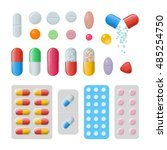 set of vector pills and... | Shutterstock .eps vector #485254750
