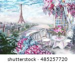 oil painting  summer cafe in... | Shutterstock . vector #485257720