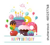 happy birthday card  flat... | Shutterstock .eps vector #485257768
