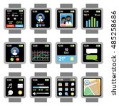 square smartwatch. applications ...   Shutterstock .eps vector #485258686