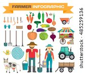 big set of cartoon farm... | Shutterstock .eps vector #485259136