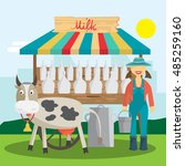 farmer selling milk products in ... | Shutterstock .eps vector #485259160