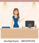 happy woman at the reception... | Shutterstock .eps vector #485259196