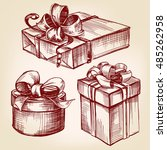 gift box set hand drawn vector... | Shutterstock .eps vector #485262958