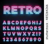 glowing neon tube font. retro... | Shutterstock .eps vector #485264266