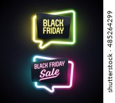 set of geometric neon vector... | Shutterstock .eps vector #485264299