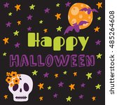 halloween printable card ... | Shutterstock .eps vector #485264608