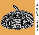 hand drawn mosaic pumpkin... | Shutterstock .eps vector #485267146