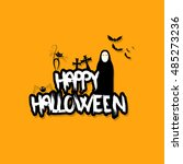halloween vector design with... | Shutterstock .eps vector #485273236