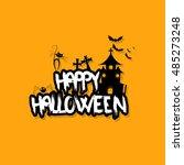 halloween vector design with... | Shutterstock .eps vector #485273248