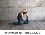 woman practicing yoga in... | Shutterstock . vector #485282218