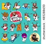 sticker collection of emoji... | Shutterstock .eps vector #485288650