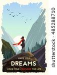 inspirational poster. girl... | Shutterstock .eps vector #485288710