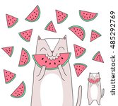 cute cartoon cat eats watermelon | Shutterstock .eps vector #485292769