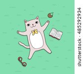 cute cartoon cat with book and... | Shutterstock .eps vector #485292934