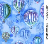 seamless pattern with hot air... | Shutterstock . vector #485293384