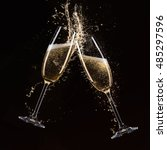 glasses of champagne with... | Shutterstock . vector #485297596