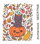 cute funny black cat sitting in ... | Shutterstock .eps vector #485297968