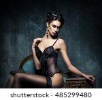 beautiful sexy brunette wearing ... | Shutterstock . vector #485299480