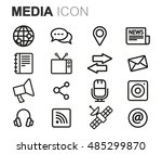 vector black line media icons... | Shutterstock .eps vector #485299870