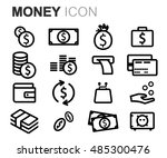 vector black line money icons... | Shutterstock .eps vector #485300476